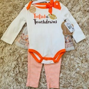 Tutus & Touchdowns Baby Girl Outfit • Brand New